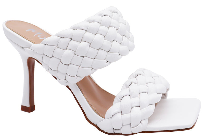 Mixx Shuzz Angie White Pu Padded Double Strap Backless Heels