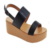 Anna Birtha-2 Black Double Strap Platform Sandal