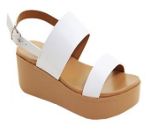 Anna Birtha-2 White Double Strap Platform Sandal