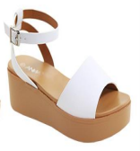 Anna Birtha-3 White Open Toe Platform Sandal With Ankle Strap
