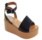 Anna Birtha-3 Black Open Toe Platform Sandal With Ankle Strap