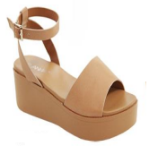 Anna Birtha-3 Camel Open Toe Platform Sandal With Ankle Strap