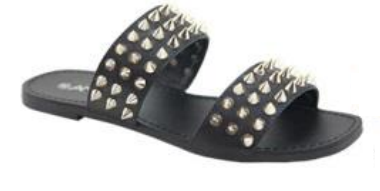 Anna Spikky Black Double Strap sandal W/ Pointed Studs