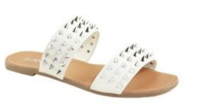 Anna Spikky White Double Strap sandal W/ Pointed Studs