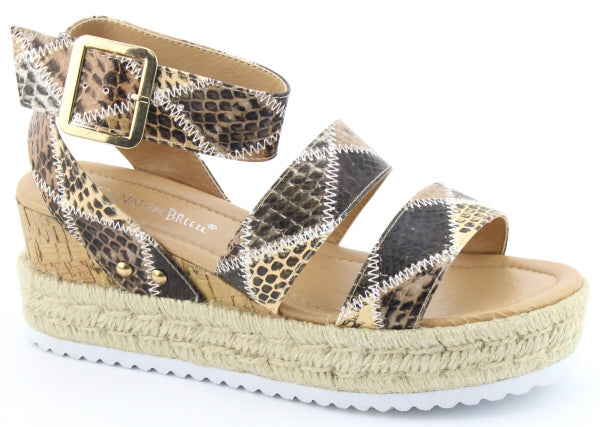 Nature Breeze Aubree-01 Beige Snake Platform sandals