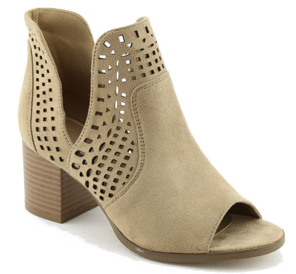 Nature Breeze Avery-02 Beige Bootie Open Toe Laser-Cut
