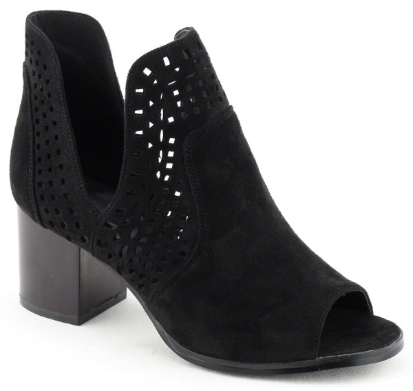 Nature Breeze Avery-02 Black Bootie Open Toe Laser-Cut