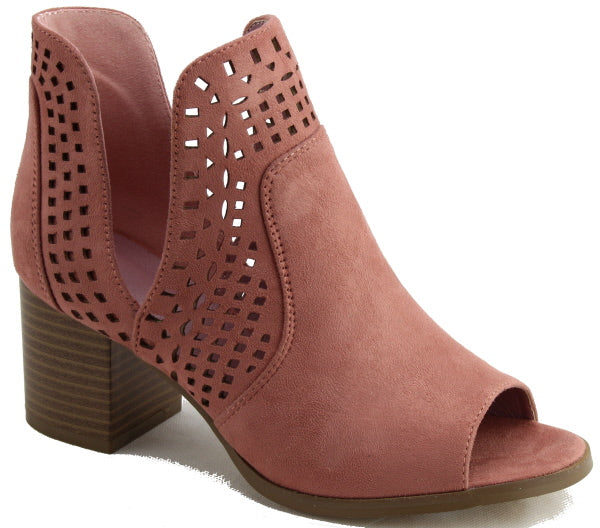 Nature Breeze Avery-02 Pink Bootie Open Toe Laser-Cut