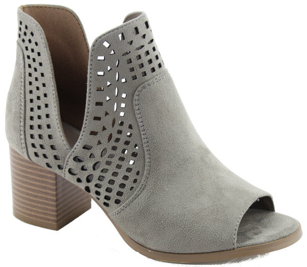 Nature Breeze Avery-02 Stone Bootie Open Toe Laser-Cut