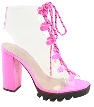 Bella Marie Amber-2 Neon Pink Open Toe Clear Lace Up Bootie