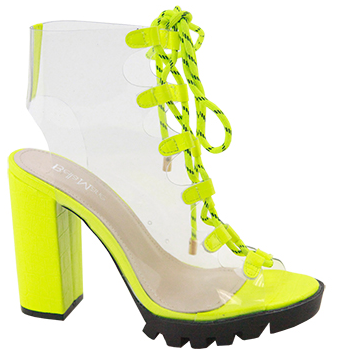 Bella Marie Amber-2 Neon Yellow Open Toe Clear Lace Up Bootie