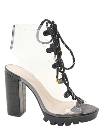Bella Marie Amber-2 Black Open Toe Clear Lace Up Bootie