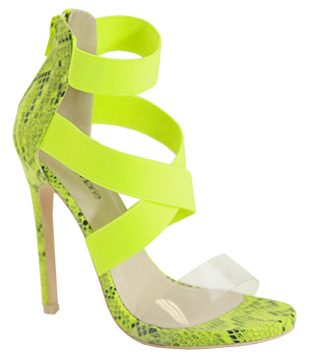 Bella Marie Chaka-3 Neon Green Open Toe Criss-Cross Strap With front Clear Heel