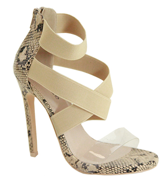 Bella Marie Chaka-3 Nude Open Toe Criss-Cross Strap With front Clear Heel
