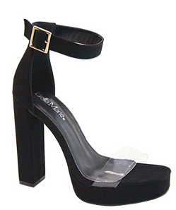 Bella Marie Entrance-1 Black Platform Open Toe Heel With Clear Strap