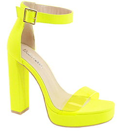 Bella Marie Entrance-1 Neon Yellow Platform Open Toe Heel With Clear Strap
