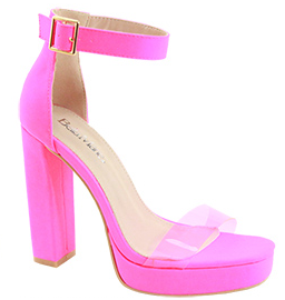 Bella Marie Entrance-1 Neon Pink Platform Open Toe Heel With Clear Strap