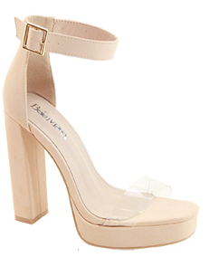 Bella Marie Entrance-1 Nude Platform Open Toe Heel With Clear Strap