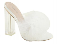 Bella Marie Furr White Slip On Clear Chunky Heel w/ White Fur