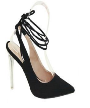 Bella Marie Rage Black Pointed Toe Lace Up Heel