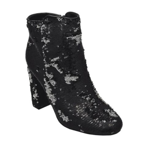 Bamboo Living-39M Black/Silver Sequins Ankle Bootie Chunky Heel