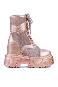 Cape Robbin Belgrade Rose Gold Platform Lace up Combat boot