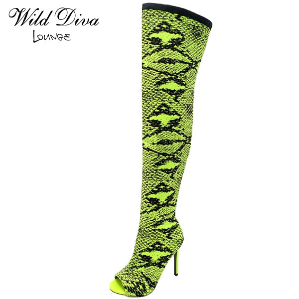 Wild Diva Berlin-467 Neon Yellow/Black Thigh High Heel Snake Print