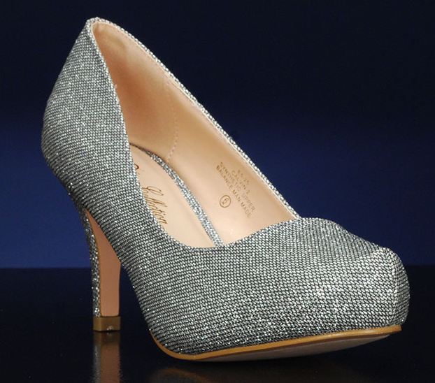 De Blossom Calvin-2 Silver Sparkle Low Closed Heel