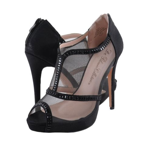 De Blossom Eternity-71 Black Mesh High Heel Ankle Bootie