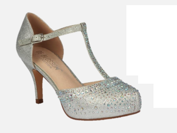 Blossom Roma-59 Silver Low Heel T-Strap