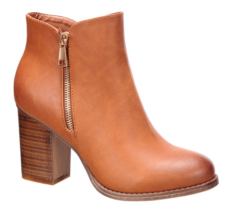 Nature Breeze Cache-02 Dark-Tan Chunky Heel Ankle Bootie