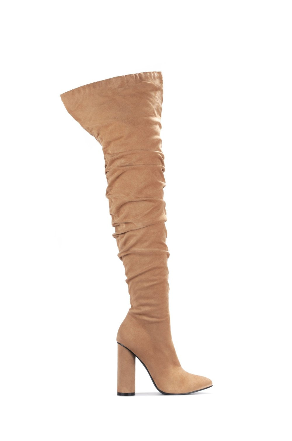 Cape Robbin Adore You Taupe Suede Thigh High Heel