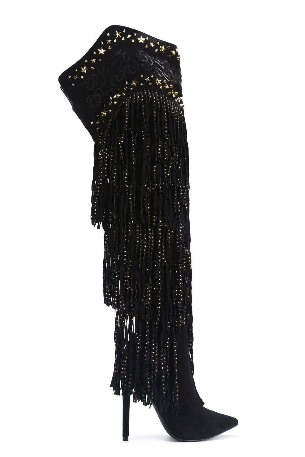 Cape Robbin High Tide Black Over The Knee Heel With Fringe and Studded Detail.