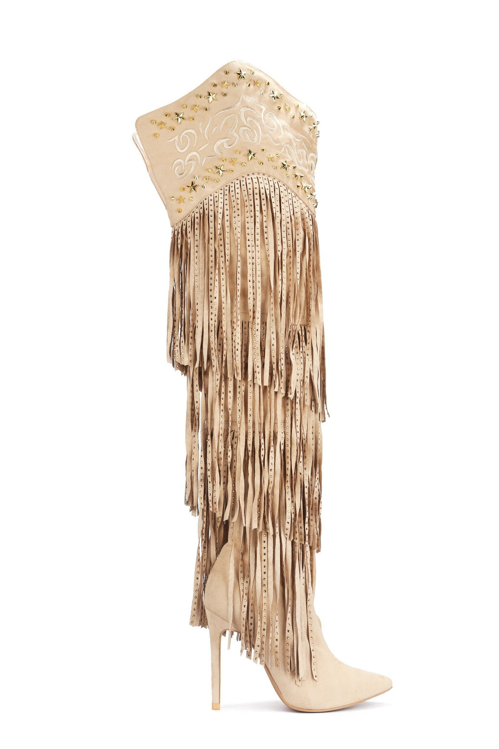 Cape Robbin High Tide Nude Over The Knee Heel With Fringe and Studded Detail.