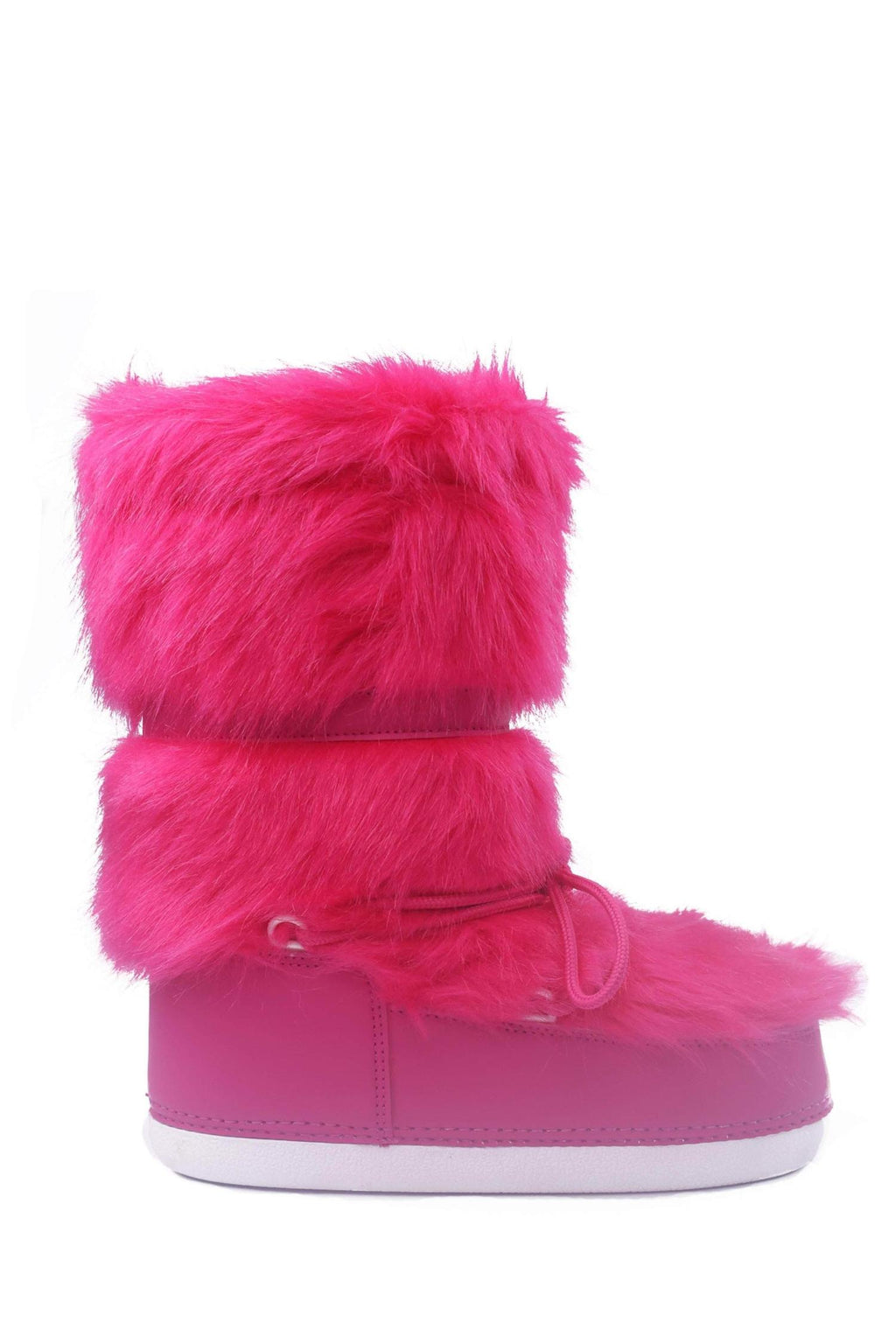 Cape Robbin Lava Pink Lace up Fur Moon Boots