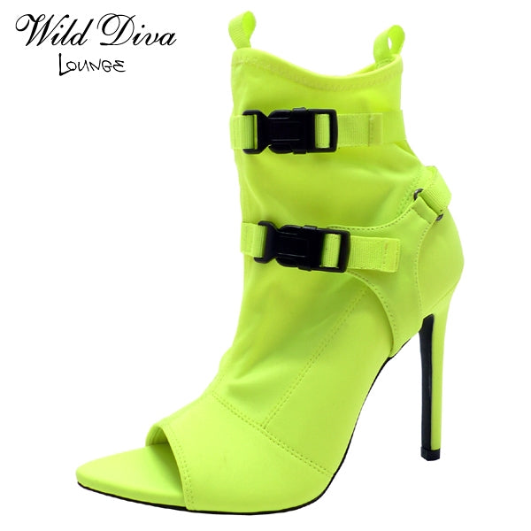 Wild Diva Carmy-18 Neon Yellow Open Pointed Toe Heel with Black Buckles