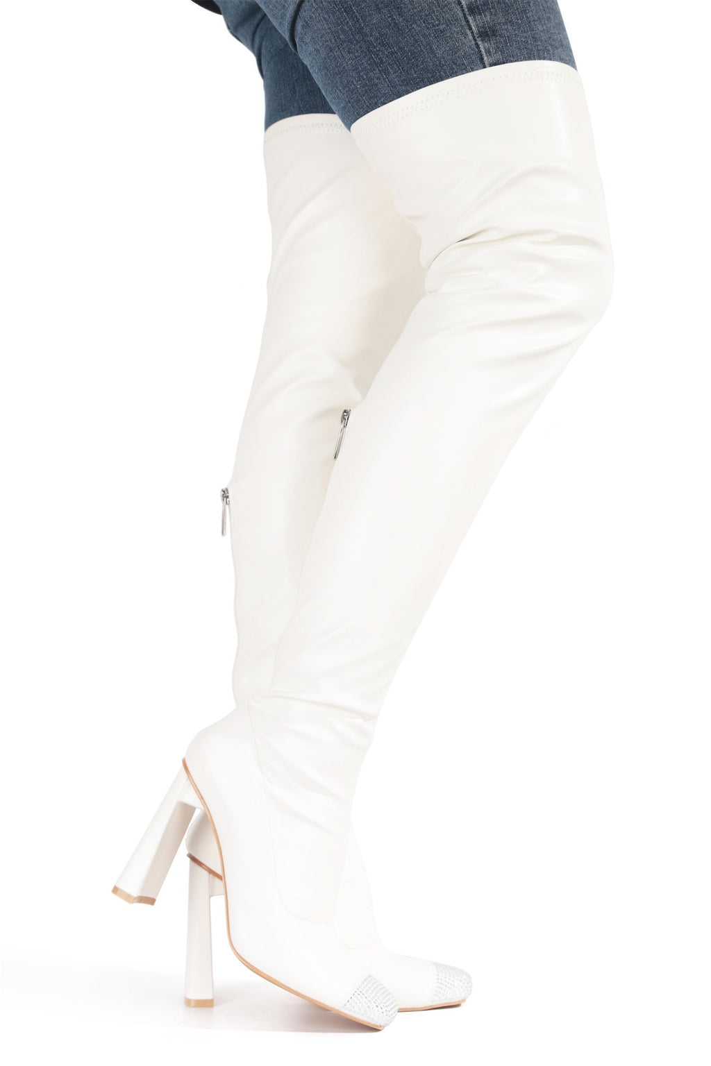 Cape Robbin Ringpop White Over The Knee Boots