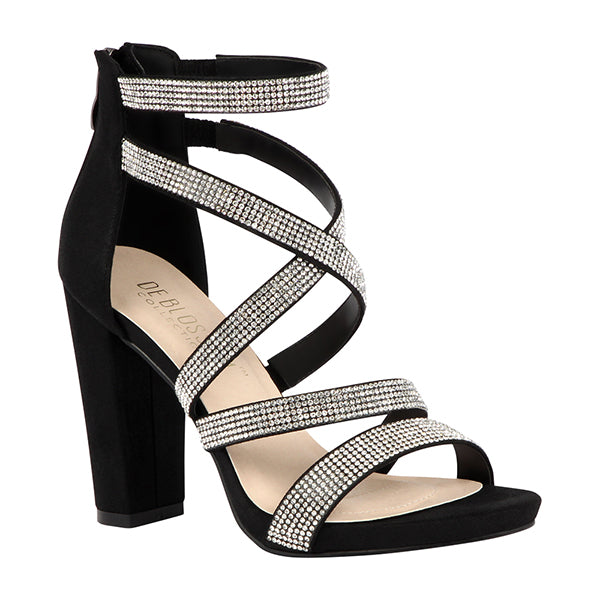 Blossom Chelsea-28 Black Shimmer Open Toe Criss Cross Straps With Chunky Heel