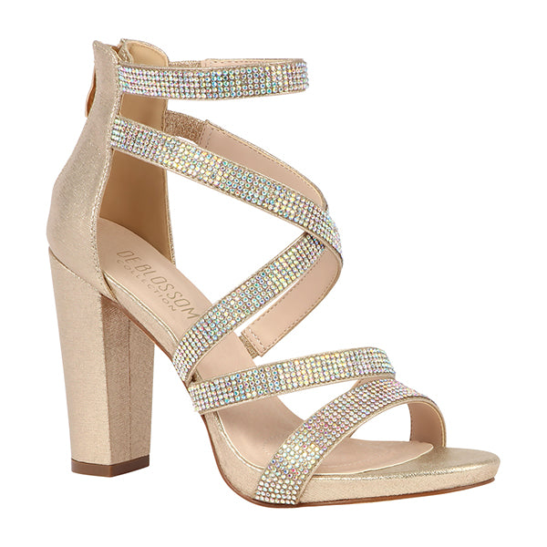 Blossom Chelsea-28 Champagne Shimmer Open Toe Criss Cross Straps With Chunky Heel