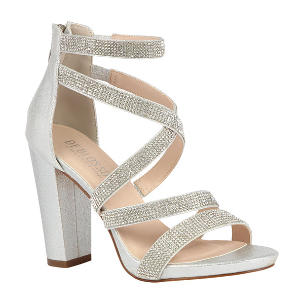 Chelsea-28 Silver Shimmer Open Toe Criss Cross Straps With Chunky Heel