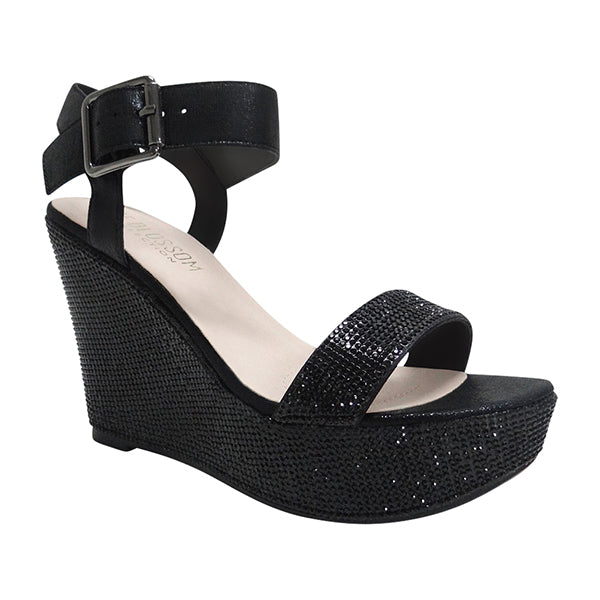 Blossom Christy-53 Black Two Strap Sandals