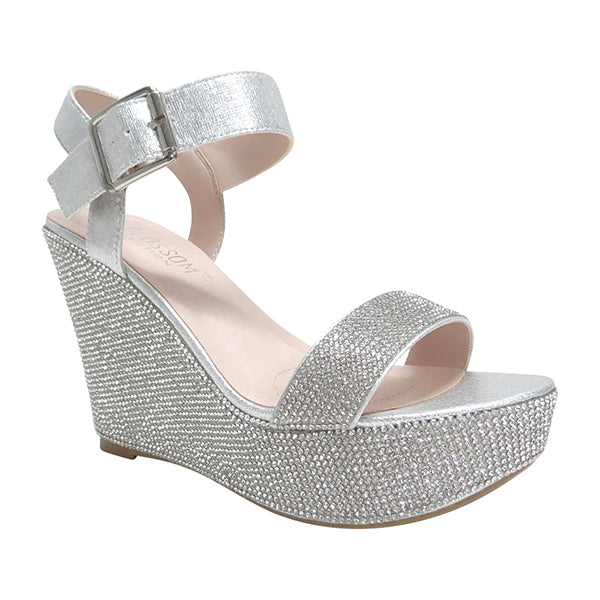 Blossom Christy-53 Silver Two Strap Sandals