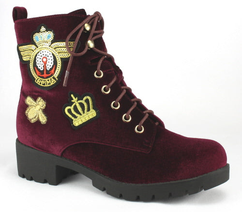 Nature Breeze Corona-01 Burgundy Velvet Suede Boot With Patch Designs