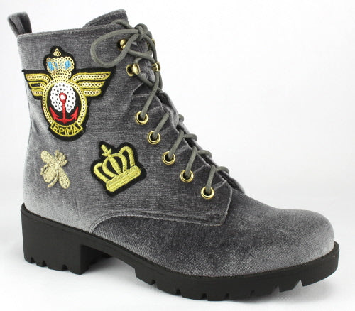Nature Breeze Corona-01 Grey Velvet Suede Boot With Patch Designs