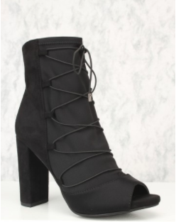 Delicious Phyllis-s Black Ankle Chunky Heel Peep Toe Boots