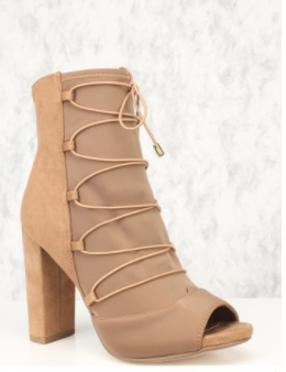 Delicious Phyllis-s D-Tan Ankle Chunky Heel Peep Toe Boots