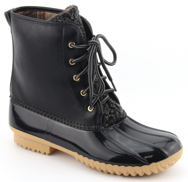 Nature Breeze Dudley-07 Black Lace-up Duck Boot