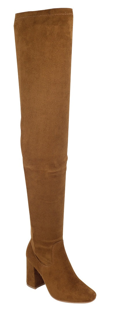 Nature Breeze Elantra-01TH Camel Su Thigh High Chunky Heel Boot