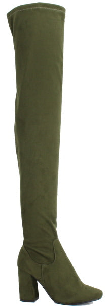 Nature Breeze Elantra-01TH Olive Su Thigh High Chunky Heel Boot