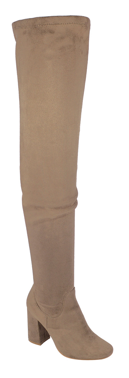 Nature Breeze Elantra-01TH Taupe Su Thigh High Chunky Heel Boot